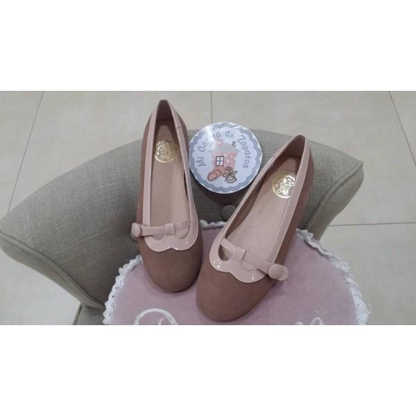 a324c0966 MERCEDITA ANTE NUDE CON CHAROL ROSA MAQUILLAJE - Mi casita de zapatos