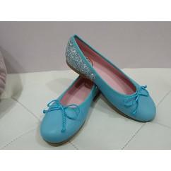 Bailarina azulada piel con talonera glitter plata