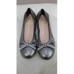 Bailarina magic carbon (gris) con lazo strass