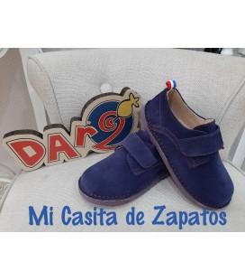 ZAPATO CASUAL MARINO CON PESPUNTE ROJO DARDOS