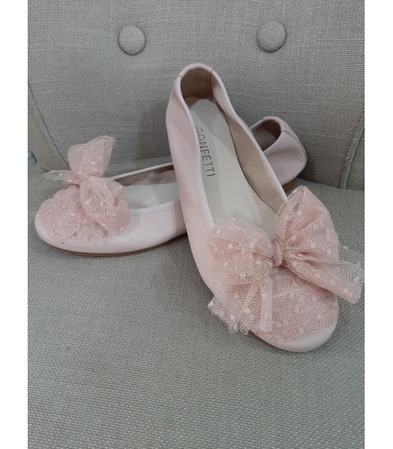 Bailarina rosa empolvado con lazo rosa plumeti confetti