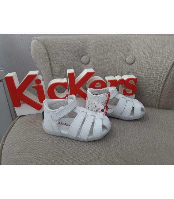 Sandalia KICKERS preandante piel blanca