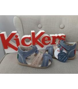 Sandalia KICKERS piel azul jeans y arena