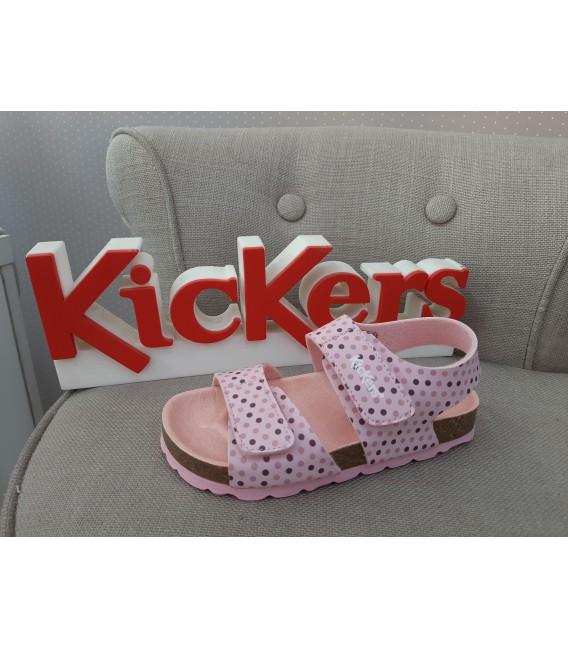 Sandalia bio KICKERS rosa con puntitos en varios colores