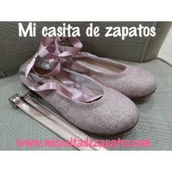 Bailarina rosa glitter en lino con lazada al tobillo